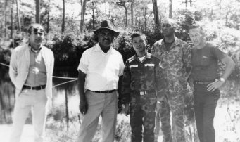 L-R: Wilfred Charette, David Morales, Unidentified, Will Green, Don Stephens in Vietnam