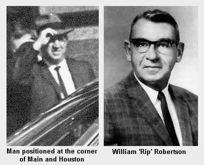 """William """"Rip"""" Robertson and unidentified man photographed in Dealey Plaza"""