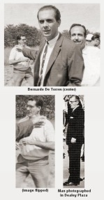 Bernardo de Torres with unidentified man photographed in Dealey Plaza, 1963