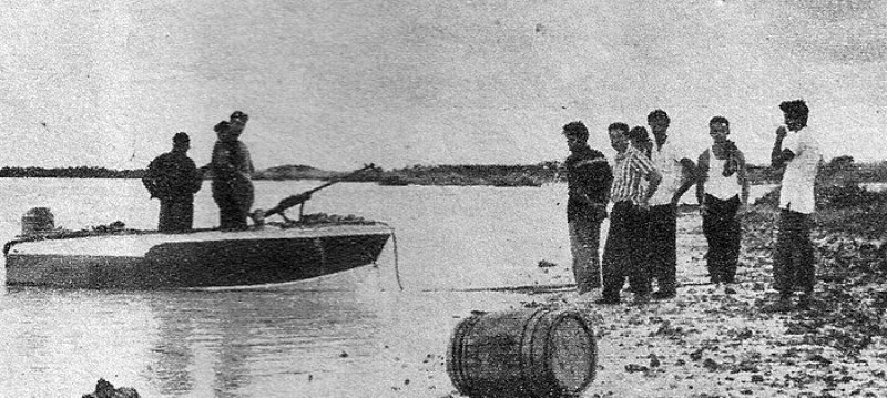 Felipe Vidal Santiago, left, with hand on hip. This is possibly the launch of the March 1964 raid on which he was captured. It is possible that three of the other men present, perhaps including the photographer, are Ladislao Gonzales Benitez, Elias Rivera Bello and Alfredo Valdes Linares.